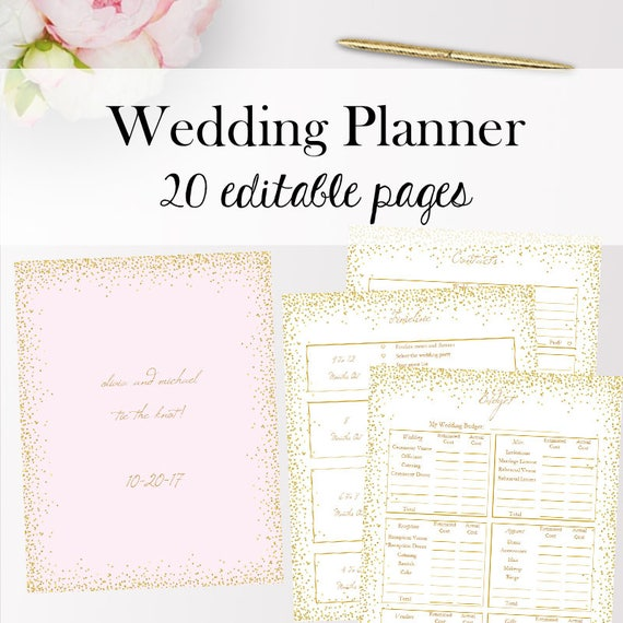 Wedding Planner Template PDF Editable Wedding Planner
