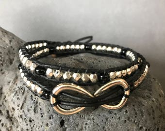 Infinity Charm Leather Bracelet - Black