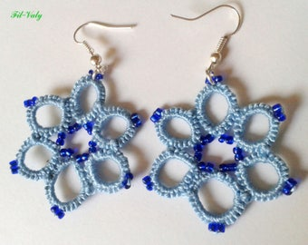 Blue Croisette tatted earrings