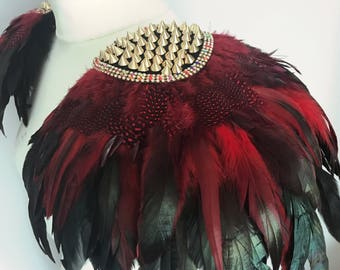 Festival feather Burning Man epaulettes, festival feather clip on wings, feather shoulder pieces, Burning Man studded feather epaulettes