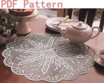 Vintage Lace Crochet Pineapple Round Table Center Doily Pattern Detailed English Instruction