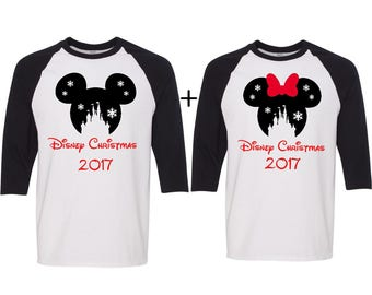 Disney christmas SNOWFLAKE CASTLE couples shirt, UNISEX baseball tee, Disney inspired, couples matching shirts, christmas shirt