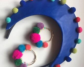 Fascinator - Cobalt Blue & Multi-Coloured Pink Pom Pom Leather Halo Crown
