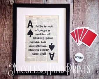 Personalised, Novelty Print, Jack London, Playing Cards, Ace of Spades, Life Quote, Novelty Gift, Old paper, Dictionary Art Print, Fun gift