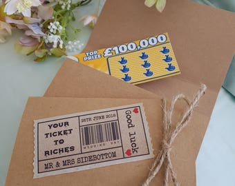 10 Wedding Favours - Scratchcard Lottery Ticket wallets/holders - Personalised - Rustic - Vintage - 'Your ticket to Riches'