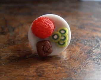 Ring gourmet ice Kiwi cake plate - polymer clay