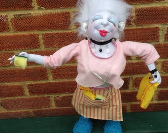 Doris the Domestic Goddess Growing Old Disgracefully Art Doll