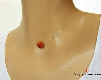 Natural Coral Necklace, Single Red Coral Necklace, Gold Coral Pendant, Real Sponge Coral. Tiny Necklace, Red Stone Necklace, Coral Jewelry