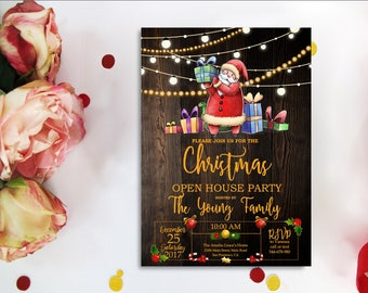 Christmas Open House Party Invitation, Christmas Wreath, Christmas Invitation, Holiday Open House Party, Rustic Festive Holiday, Digital