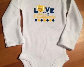Love Those Mountaineers - Onsie - Toddler tshirt - Adult tshirt