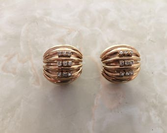 1960's gold colored ridged globe earrings, with rhinestones!