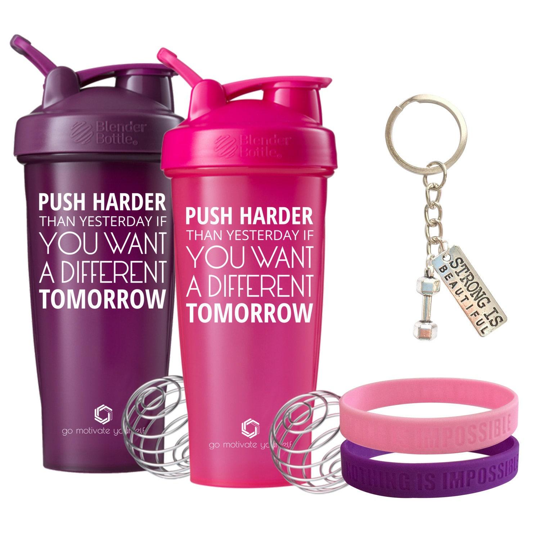 Protein Shaker Keyring: Push Harder Gift Set Includes 2 Blender Bottles Fitness