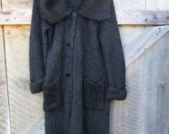 CLEARANCE long vintage fuzzy knit black sweater VELMA'S