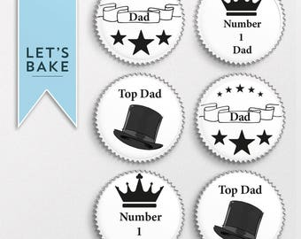 Dad, birthday, cupcake topper, cake topper, chocolate covered biscuit, marshmallow lolly, edible, fathers day, rice paper toppers