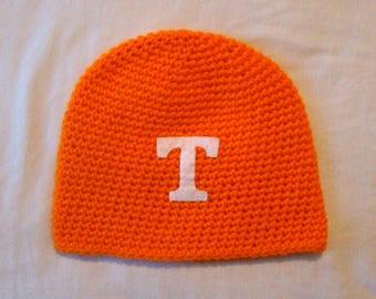 Tennessee Volunteers Handmade Hat / Adult 1 size /Unisex / Crochet / Hand Stitched / Orange & White