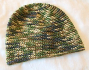 Camouflage Beanie / Men's / One Size / Hand Made / Crochet / Gift for Hunter, Fisherman, Dad, Brother... / Winter Hat /