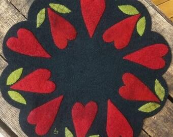Hand-dyed Wool Heart Mat KIT