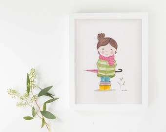 "Original illustration ""girl"" watercolor"