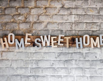 Home Sweet Home, handmade wooden sign. Panneau bois massif fait main, décoration murale Home sweet home, from France