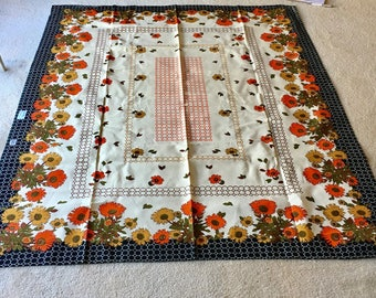 Vintage Retro Kitsch floral table cloth 100% cotton