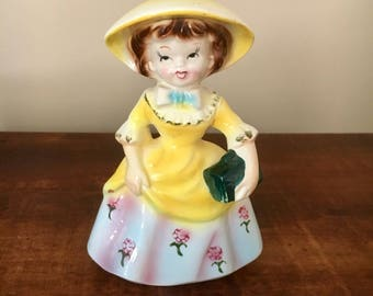 Vintage josef originals? lady girl ornament yellow retro kitsch