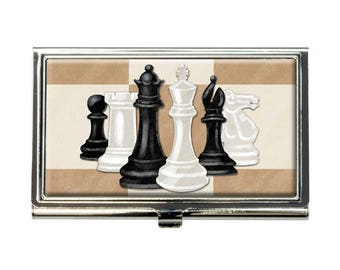 Chess Set Pieces Business Credit Card Holder Case