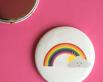 Rainbow pocket mirror / Sunshine pocket mirror / Cute pocket mirror / Handmade pocket mirror