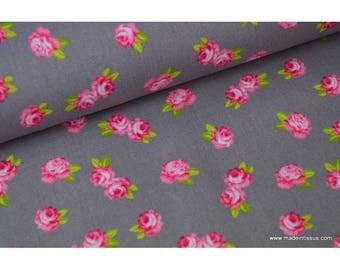 Pink background print cotton Poplin grey x50cm
