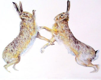 Hare wall decor, hare wall stickers, boxing hares, woodland nursery, wildlife home decor, hare art print, two wild hares, watercolor hares
