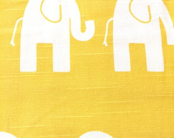 Elephant Fabric Home Decor Weight Cotton Fabric -  Yellow / White Natural Duck Cloth Cotton Fabric - Elephant Fabric