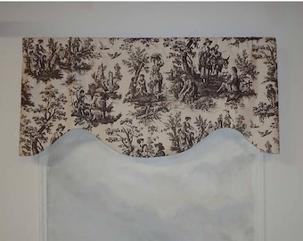 Waverly Country Life Black and Off White Toile Valance