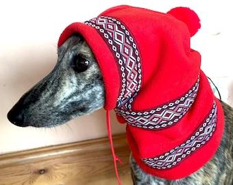 Small whippet / italian greyhound pom pom hat/ snood