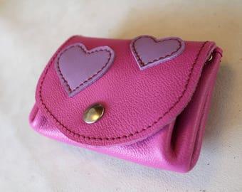 Pink leather wallet; leather wallet. Pink wallet