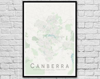 Canberra ACT City Street Map Print | Apartment Wall Art | Travel Nursery Print | Gift for Couple | Housewarming Gift | Wall decor | A3 A2