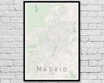 MADRID Map Print | Spain City Map Print | Wall Art Poster | Wall decor | A3 A2