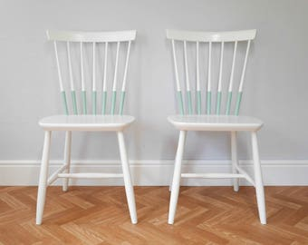 Vintage Spindle Back Dining Chairs Painted White and Mint Green. Mid Century Ercol Style