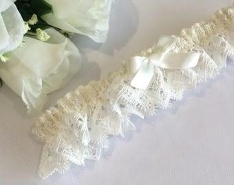 Wedding Garter, Lace Wedding Garter, Satin Lace Garter, Ivory Lace Garter, Lace Garter, Lace Bridal Garter, Bridal Lingerie