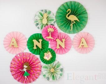 Hawaii Pinwheel Backdrop/Paper Rosette backdrop/ hula/   Wedding background/baby shower/ Giant paper Flowers/  paper fan backdrop