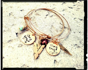 My Tribe • Gold Charm Bangle - Hand Stamped Charm//Arrowhead//Feather//Arrow//Jasper Stone(Choose Color) Stainless or Plated - Bridesmaid