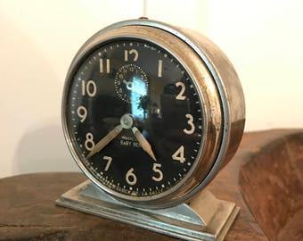 Westclox Baby Ben Clock Wind Up Alarm Clock Silver Case Black Dial Style No 4