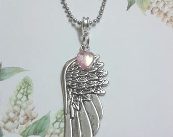 Beautiful Angel Wing Necklace With Pink Heart Bead Charm