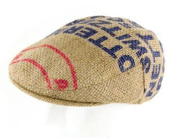 """Upcycling flat Cap Flatcap """"Café espresso""""-subject """"Blue"""" (size: 55 cm)"""