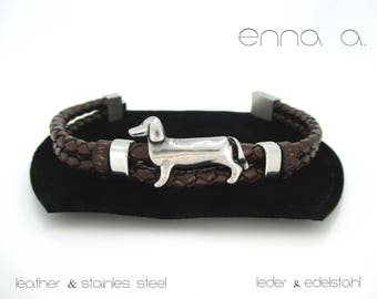 Braided brown leather bracelet and stainless steel