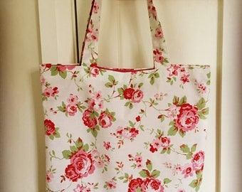 Market bag, book bag, shopping bag, floral print bag, beach bag, birthday gift made in a Cath Kidston floral fabric