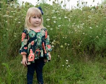 Boho girl shirt - navy floral top - elbow length bell sleeves - girl top - fall shirt
