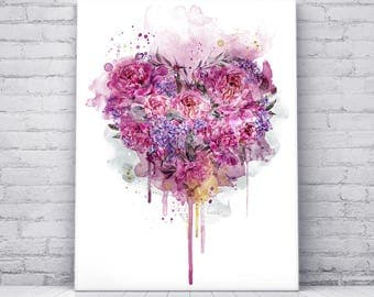 Digital Art Print on Canvas, Paeony, Flower, Pink, Heart
