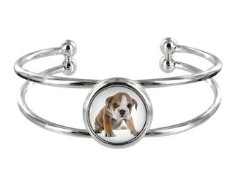 English Bulldog Puppy On Silver Plated Bangle in Organza Gift Bag