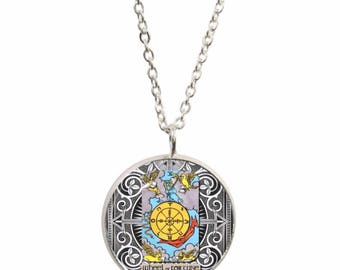 Wheel Of Fortune Tarot Card Pendant and Silver Plated Necklace