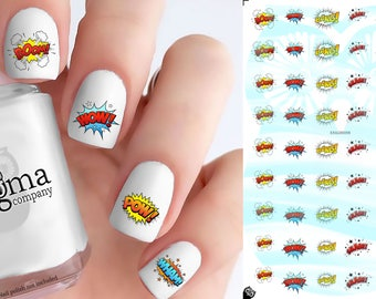 Comic Sound Effects Nail Decals (Set of 54)