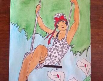 drawings wife sister swing